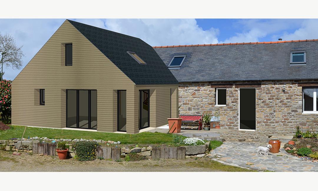 Petite maison transform e par un agrandissement comprenant for Extension maison suite parentale